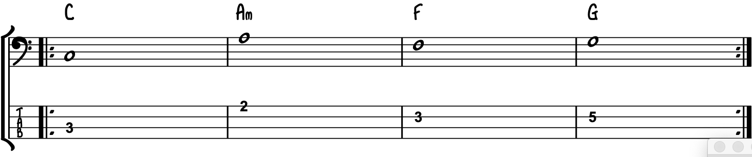 50s Chord Sequence For Bass Guiitar