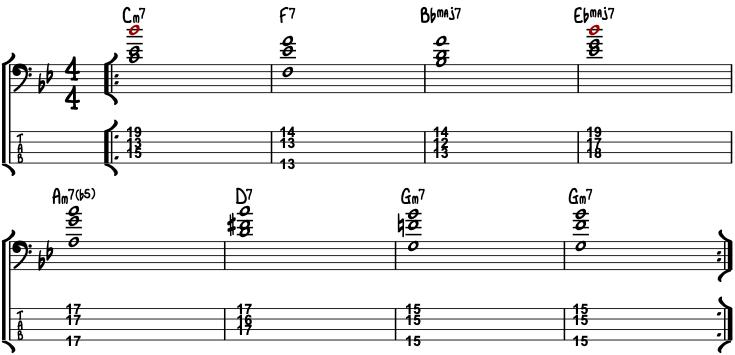 Bass Guitar Chords Autumn Leaves