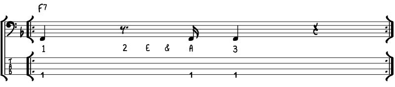 simple funk bass line