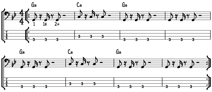 eBassGuitar I Shot The Sheriff Chorus Notation